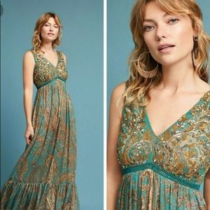 Beaded Paisley Maxi Dress- Anthropology Ranna Gill
